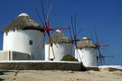 greccy wyspy mykonos wiatraczki Fotografia Stock