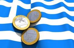 Grece-Geld-Flagge Lizenzfreies Stockfoto