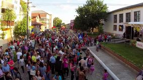 Greci Cherry Festival, aerial perspective stock video footage