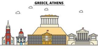 Grecia, Atenas Arquitectura del horizonte de la ciudad editable stock de ilustración