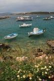Grecia, barcos de pesca Fotos de archivo libres de regalías