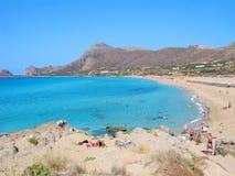 Grecia, Creta, playa de Falasarna, gente, centro turístico Fotografía de archivo