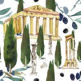 Grecia Dé casas blancas estilizadas backg exhausto de la acuarela las pequeñas con los tejados abovedados azules y las pequeñas v Fotografía de archivo