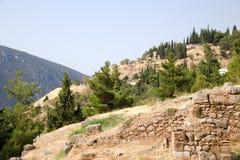 Grecia. Delphi. La pieza de la montaña decated a Apollon Fotos de archivo libres de regalías