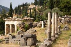 Grecia. Delphi. Roca de la sibila Fotografía de archivo