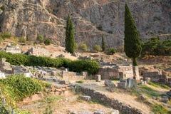 Grecia. Delphi. Ruinas antiguas Imágenes de archivo libres de regalías