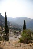 Grecia. Delphi. Teatro y templo de Apolo Fotografía de archivo libre de regalías