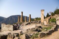 Grecia. Delphi. Templo de Apolo Fotos de archivo
