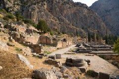 Grecia. Delphi. Templo de Apolo Foto de archivo libre de regalías