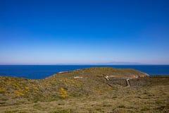 Grecia Isla de Kea, Otzias Mar y cielo azules, paisaje imagen de archivo libre de regalías