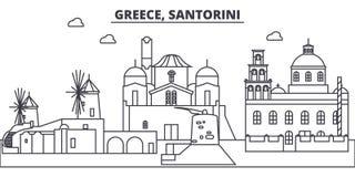 Grecia, línea ejemplo de Santorini del vector del horizonte Grecia, paisaje urbano linear con las señales famosas, ciudad de Sant ilustración del vector