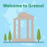 Grecia, mapa de Grecia, acrópolis griega Stock de ilustración