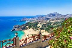 Grecia, playas de la isla de Rodas Fotos de archivo