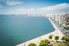 Grecia, Salónica, hacia julio de 2015, opinión sobre costa de la torre blanca Fotografía de archivo