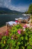 Grecia - terraza por el mar Foto de archivo libre de regalías
