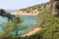 Grecia, Thassos, vistas de las montañas y de la bahía Fotos de archivo libres de regalías