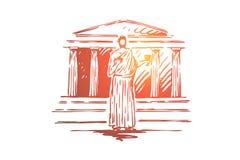 Grecia, viaje, templo, edificio, concepto de la columna Vector aislado dibujado mano stock de ilustración