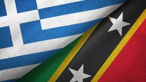 Grecja, święty i dwa flagi tekstylny płótno, tkaniny tekstura ilustracji