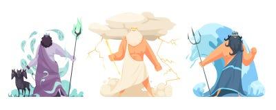 Grecja bogów Horyzontalny set royalty ilustracja