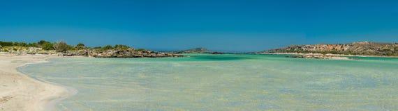 Grecja, Crete Elafonisi plaża i woda, przeglądamy panoramę Fotografia Stock