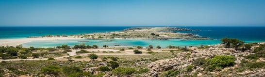 Grecja, Crete Elafonisi plaża widok od wzgórza Fotografia Stock