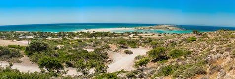 Grecja, Crete Elafonisi plaża widok od wzgórza Zdjęcia Stock