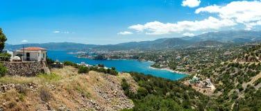 Grecja Crete, turkus podpalana panorama od wierzchołka wzgórze Fotografia Stock