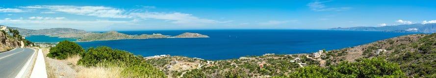 Grecja Crete, turkus podpalana panorama od wierzchołka wzgórze Obrazy Stock