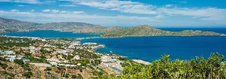 Grecja Crete, turkus podpalana panorama od wierzchołka wzgórze Zdjęcie Royalty Free