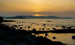 Grecja, Crete, zmierzch w Chania Xania wieczór świetle miast brzęczenia Obrazy Stock