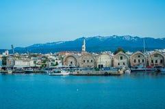 Grecja, Crete, zmierzch w Chania Xania wieczór świetle miast brzęczenia Zdjęcia Stock