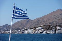 Grecja flaga na tle natura Obraz Royalty Free