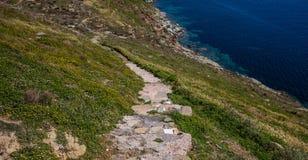 Grecja Kea wyspa Droga przemian, krajobraz w wiośnie i błękitna woda morska, obrazy stock