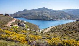 Grecja Kea wyspa, Otzias Błękitny niebo i, krajobrazowy widok z lotu ptaka obraz royalty free