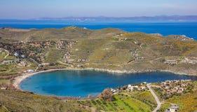 Grecja Kea wyspa, Otzias Błękitny niebo i, krajobrazowy widok z lotu ptaka zdjęcia royalty free