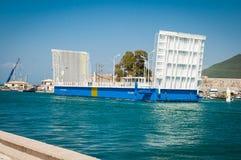 2016 Grecja Lefkada Poruszający most między wyspą i kontynentem Fotografia Royalty Free