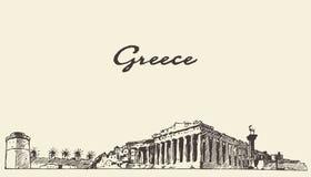 Grecja linii horyzontu rocznika ilustracja rysujący nakreślenie Zdjęcia Royalty Free