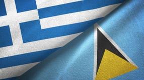 Grecja Lucia i święty dwa flagi tekstylny płótno, tkaniny tekstura ilustracji