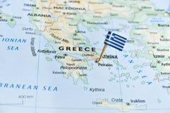 Grecja mapy flaga szpilka Fotografia Stock