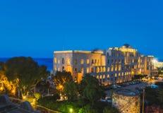 Grecja Rhodes, Lipiec, - 16: Kasynowy Rodos wieczór na Lipu 16, 2014 w Rhodes, Grecja Zdjęcie Stock