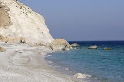 Grecja, Skiathos wyspa, Lalaria plaża fotografia stock