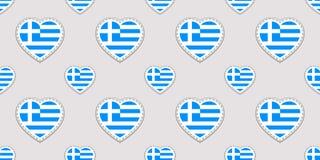 Grecja tło Grecian chorągwiany bezszwowy wzór Wektorowi stikers Miłość serc symbole Dobry wybór dla sport stron, podróż, geogr ilustracja wektor
