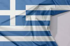 Grecja tkaniny flaga zagniecenie z biel przestrzenią i krepa fotografia royalty free