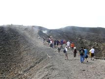 Grecja wulkan Nea Kameni w kalderze Santorini wyspa obrazy royalty free