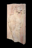 Grecka doniosła stela pokazuje młodych doryphoros (550 BC) Obraz Stock