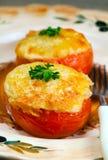 Grecka tradycyjna kuchnia - pomidory faszerowali mincemeat Obraz Stock