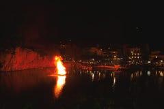 Grecka wielkanoc w Crete w Agios Nikolaos Wielkanoc przy Voulismeni jeziorem Zdjęcia Stock
