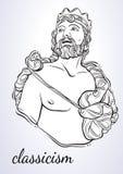 Grecki bóg mitologiczny bohater antyczny Grecja Pociągany ręcznie piękna wektorowa grafika odizolowywająca klasycyzm Mity i legen Zdjęcie Stock