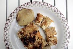 Grecki jedzenie, TraditionalBoureki warzywo & grula kulebiak, Zdjęcie Stock