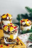 Grecki jogurt z granola i pomarańcze dla zdrowego śniadania zdjęcie royalty free
